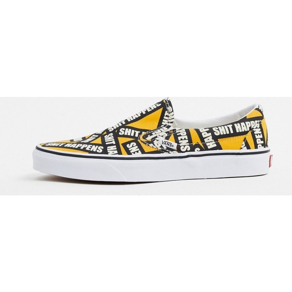 ヴァンズ Vans メンズ スリッポン・フラット シューズ・靴【Classic Slip-On Shit Happens trainer in yellow/white】Shit happens cadmi