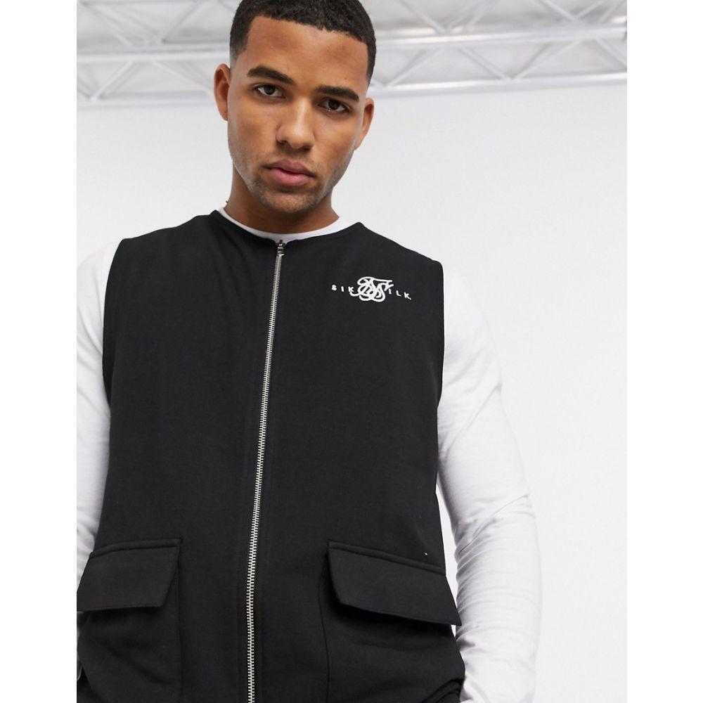 シックシルク SikSilk メンズ タンクトップ トップス【Siksilk vest with logo in black】Black