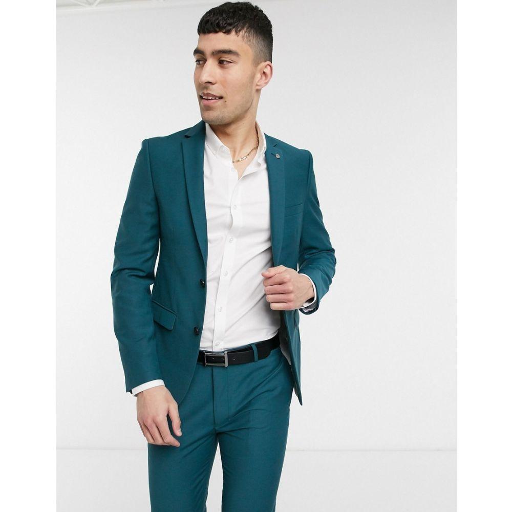アヴェイルロンドン AVAIL London メンズ スーツ・ジャケット アウター【Avail London skinny fit suit jacket in teal】Blue