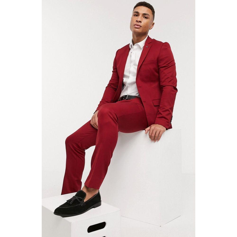 アヴェイルロンドン AVAIL London メンズ スラックス ボトムス・パンツ【Avail London skiny fit suit trousers in chilli】Red