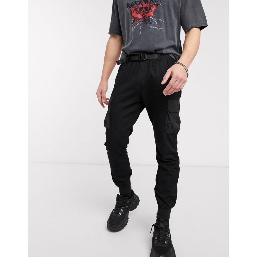ブーフー boohooMAN メンズ ジョガーパンツ ボトムス・パンツ【cuffed cargo joggers with buckle waistband in black】Black