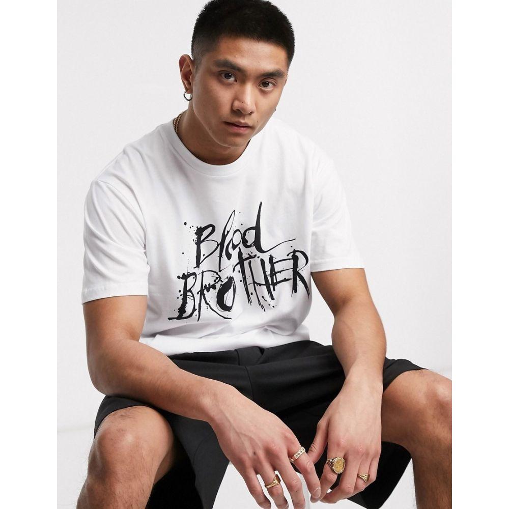 ブラッドブラザー Blood Brother メンズ Tシャツ トップス【printed logo t-shirt in white】White