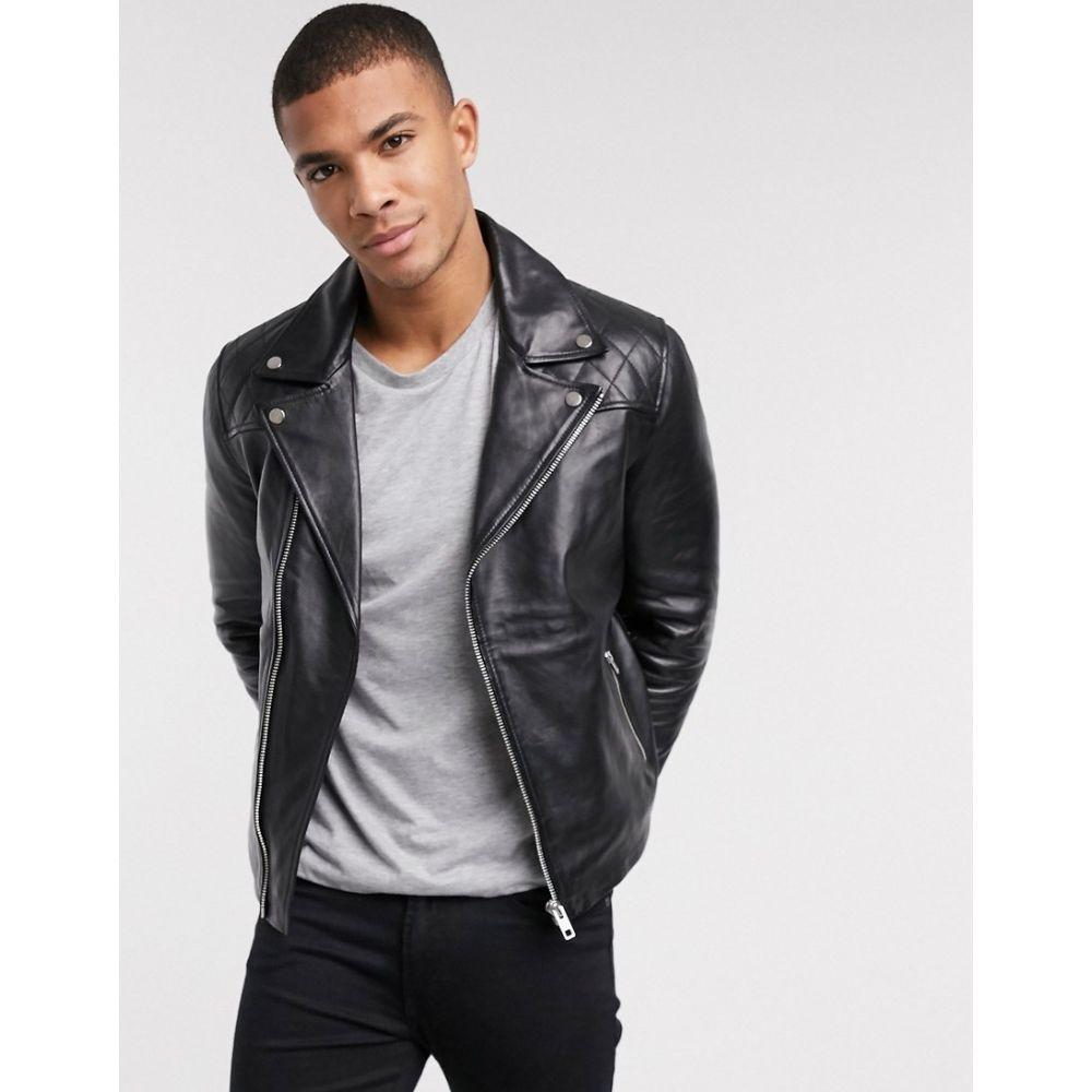 バーニーズ オリジナル Barneys Originals メンズ レザージャケット ライダース アウター【Barney's Originals biker leather jacket】Black