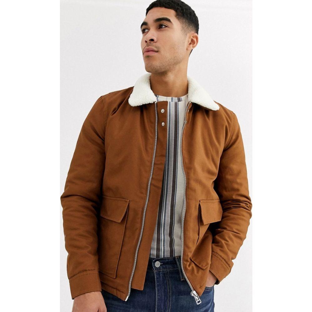 トップマン Topman メンズ コート アウター【jacket in tan with borg collar】Brown