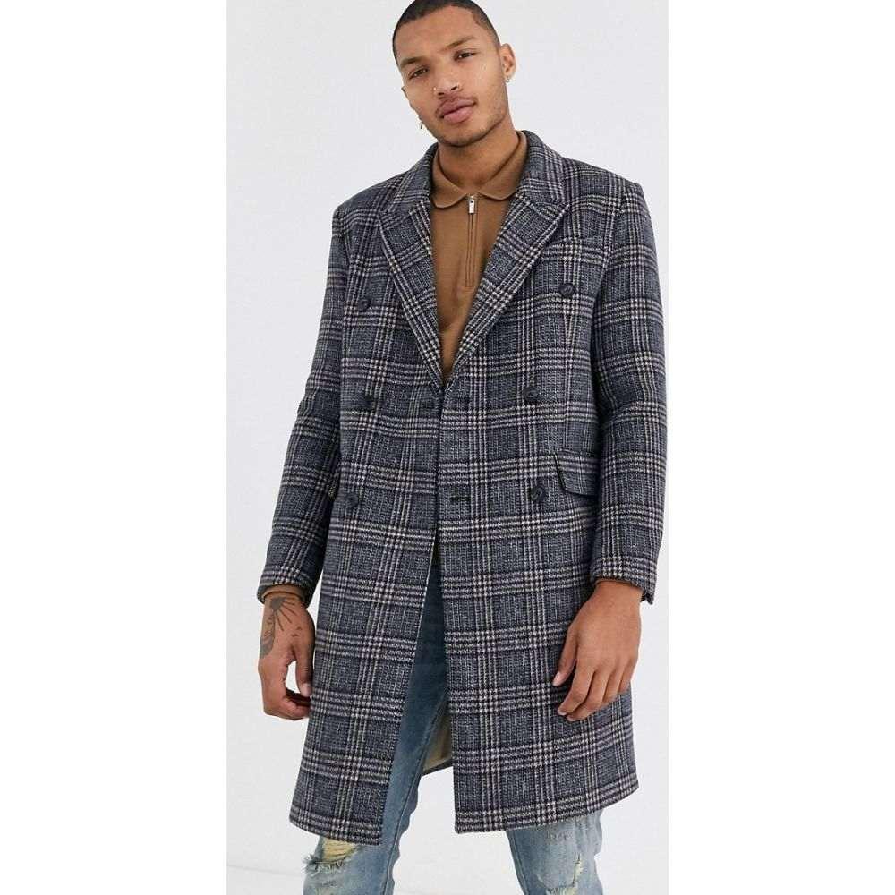 トップマン Topman メンズ コート アウター【overcoat in grey check】Brown