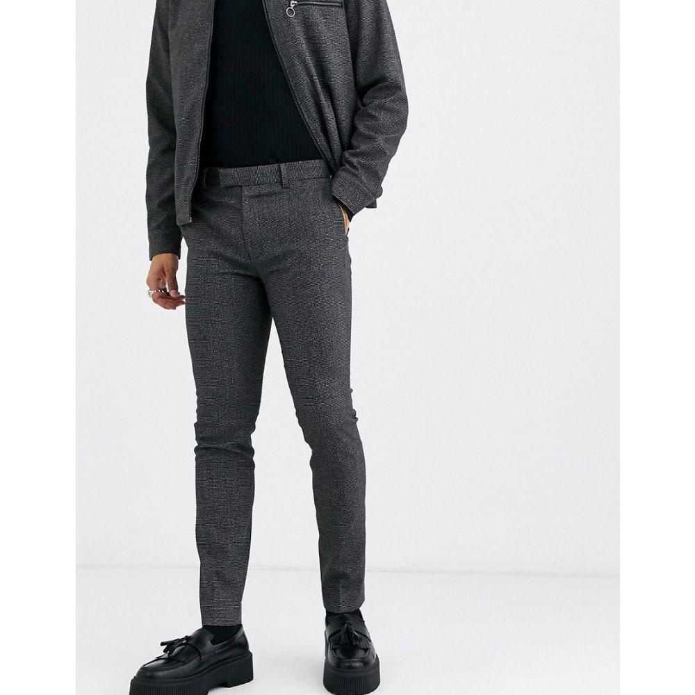 トップマン Topman メンズ スキニー・スリム ボトムス・パンツ【coord skinny smart trousers in dark grey】Dark grey