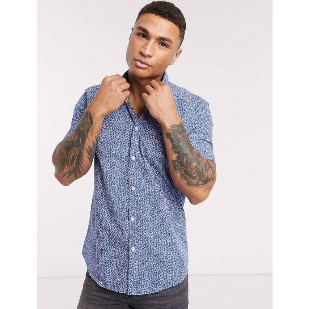 エスプリ Esprit メンズ 半袖シャツ トップス【shirt in short sleeve with ditsy floral print】Blue