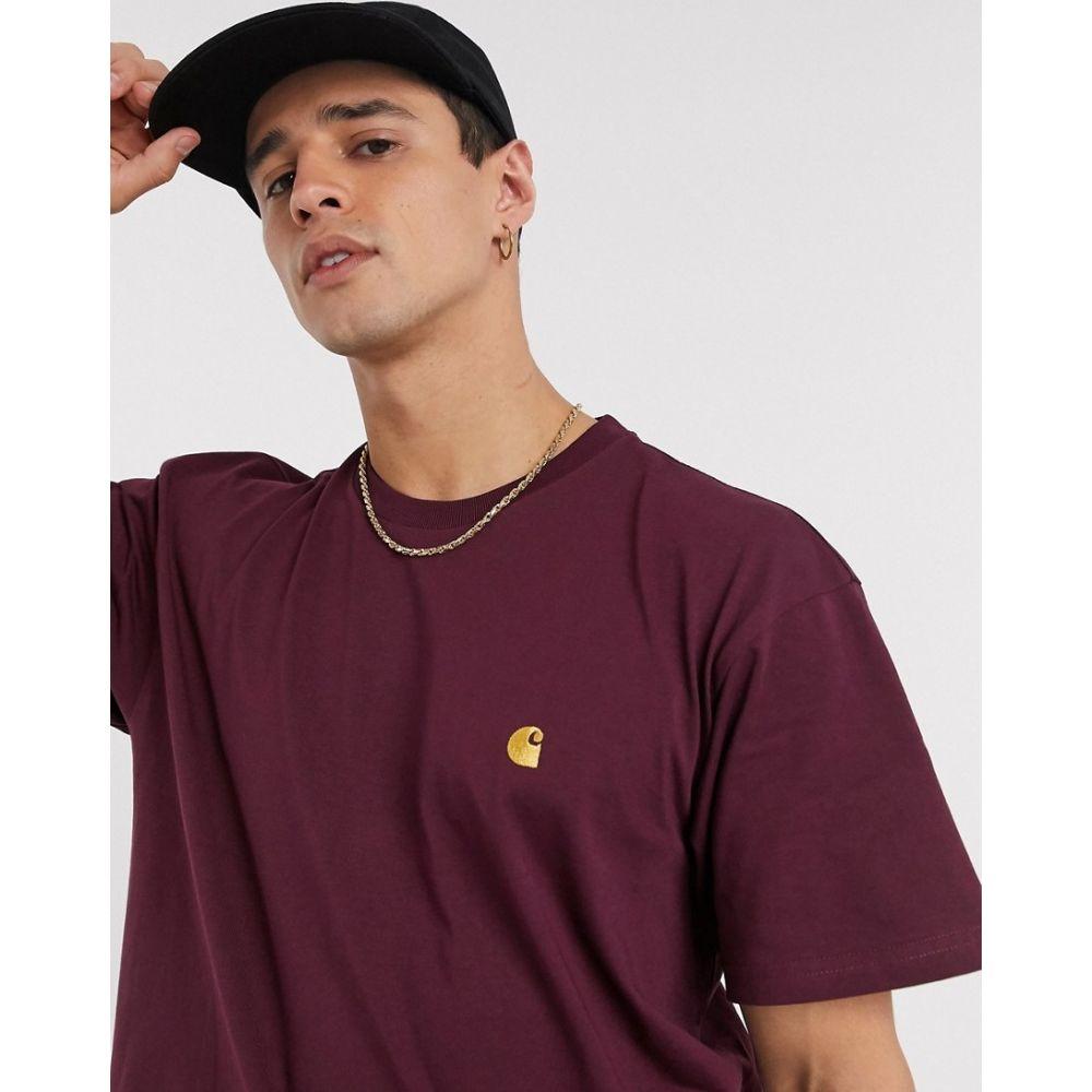 カーハート Carhartt WIP メンズ Tシャツ トップス【Chase t-shirt in burgundy】Shiraz/gold