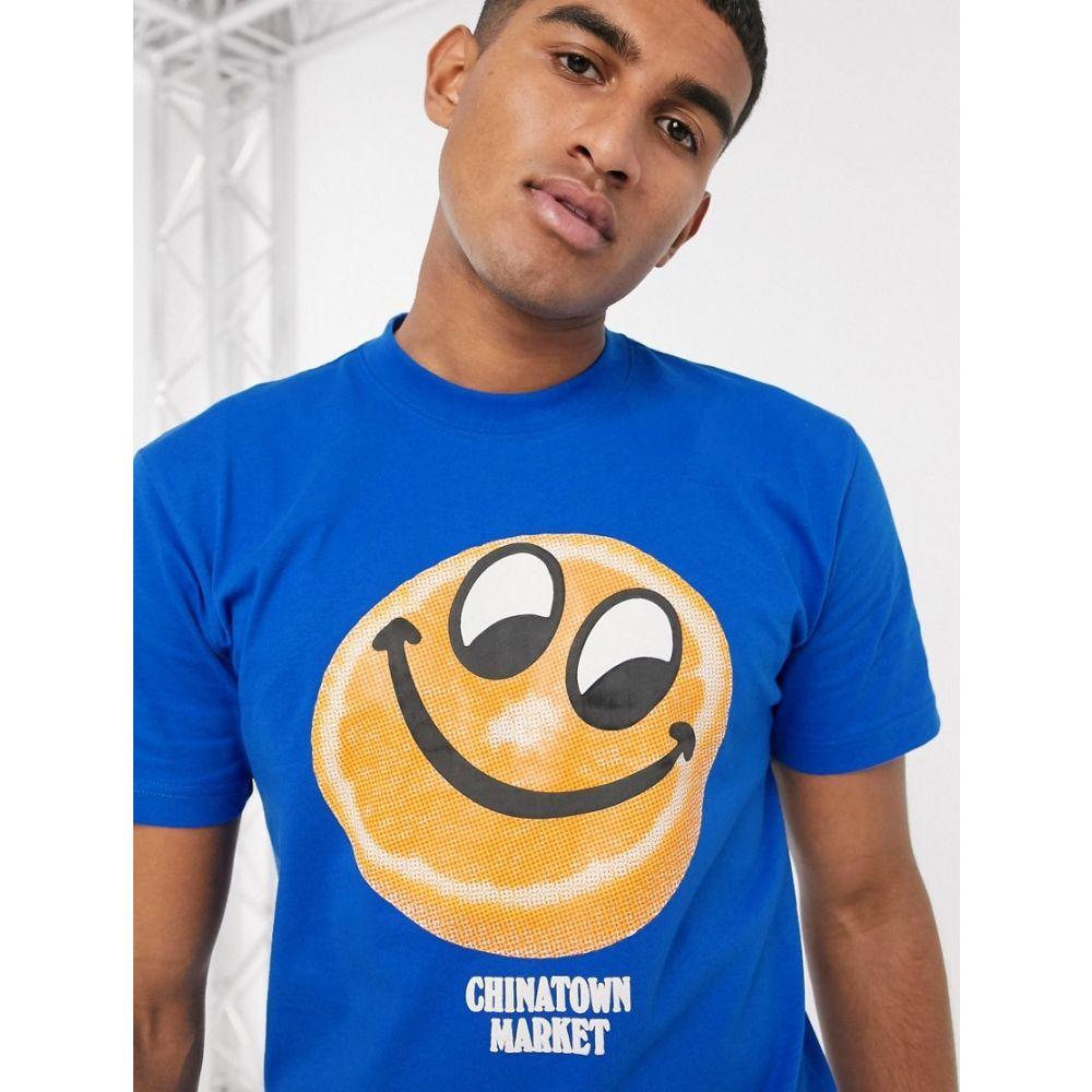 チャイナタウンマケット Chinatown Market メンズ Tシャツ トップス【Orange Face t-shirt in blue】Blue