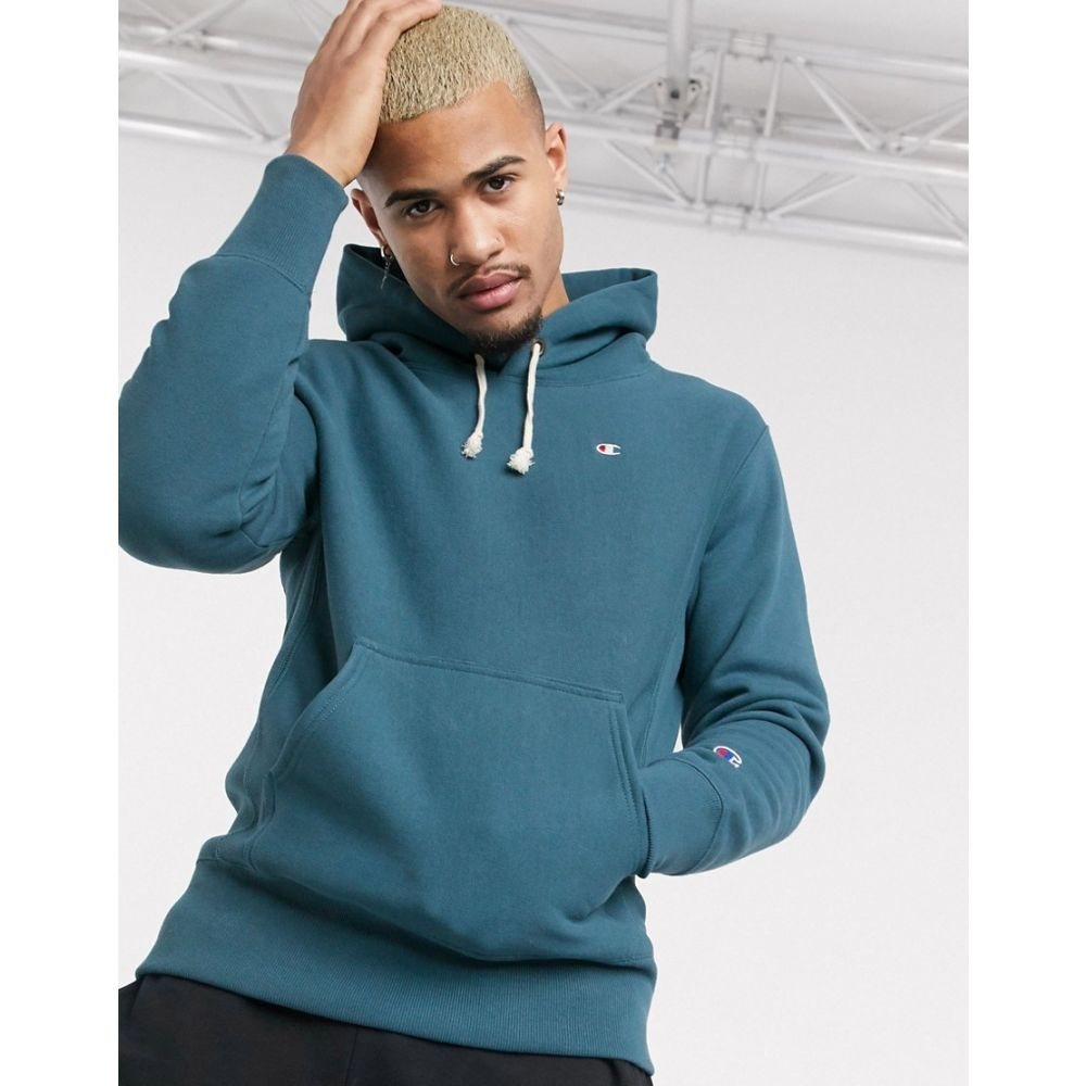 チャンピオン Champion メンズ パーカー トップス【Reverse Weave pullover small logo hoodie in blue】Blue sgz