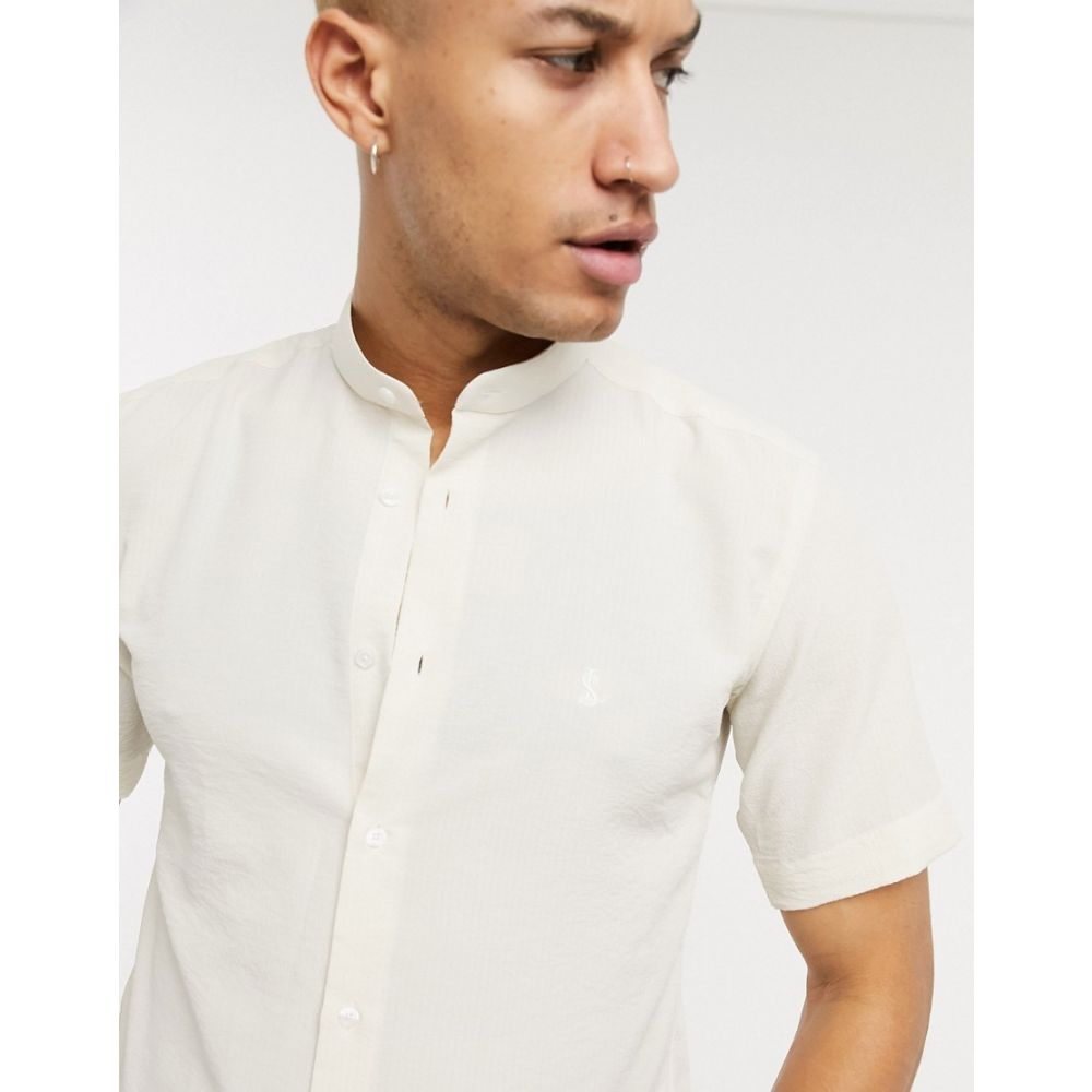 ロックストック Lockstock メンズ シャツ トップス【grandad collar shirt in textured ecru】Cream