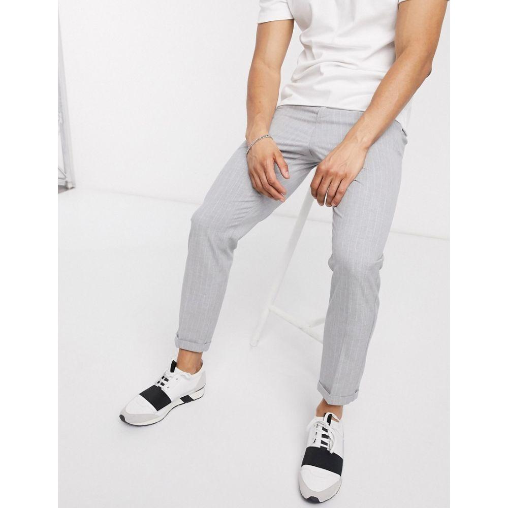 ロックストック Lockstock メンズ クロップド ボトムス・パンツ【cropped trousers with pinstripe in grey】Grey