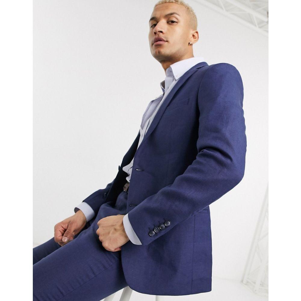 ロックストック Lockstock メンズ スーツ・ジャケット アウター【slim fit linen suit jacket in navy】Navy