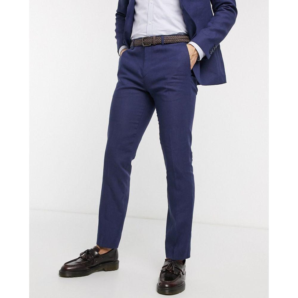 ロックストック Lockstock メンズ スラックス ボトムス・パンツ【slim fit linen suit trousers in navy】Navy