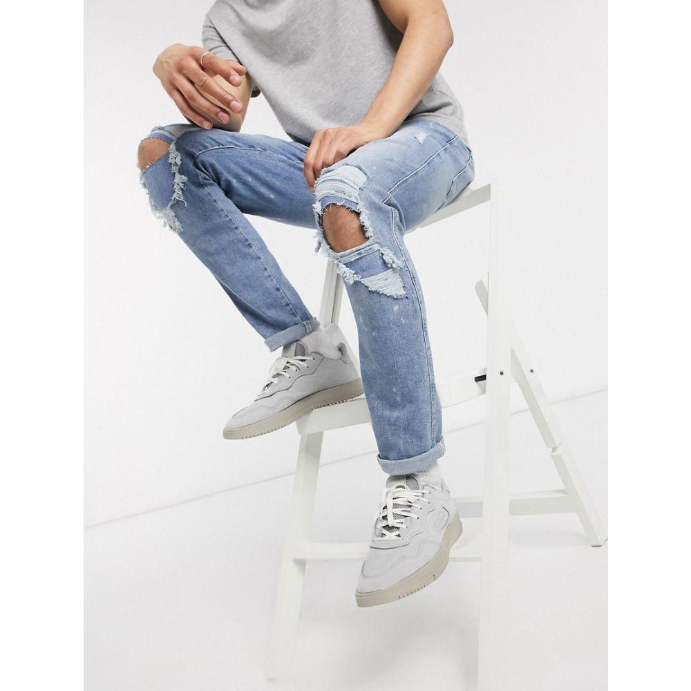 リバーアイランド River Island メンズ ジーンズ・デニム ボトムス・パンツ【skinny jeans with rips & paint marks in blue wash】Light blue