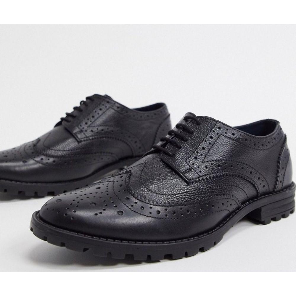 レッドフット Redfoot メンズ 革靴・ビジネスシューズ メダリオン チャンキーヒール シューズ・靴【leather chunky sole brogue shoes in black】Black