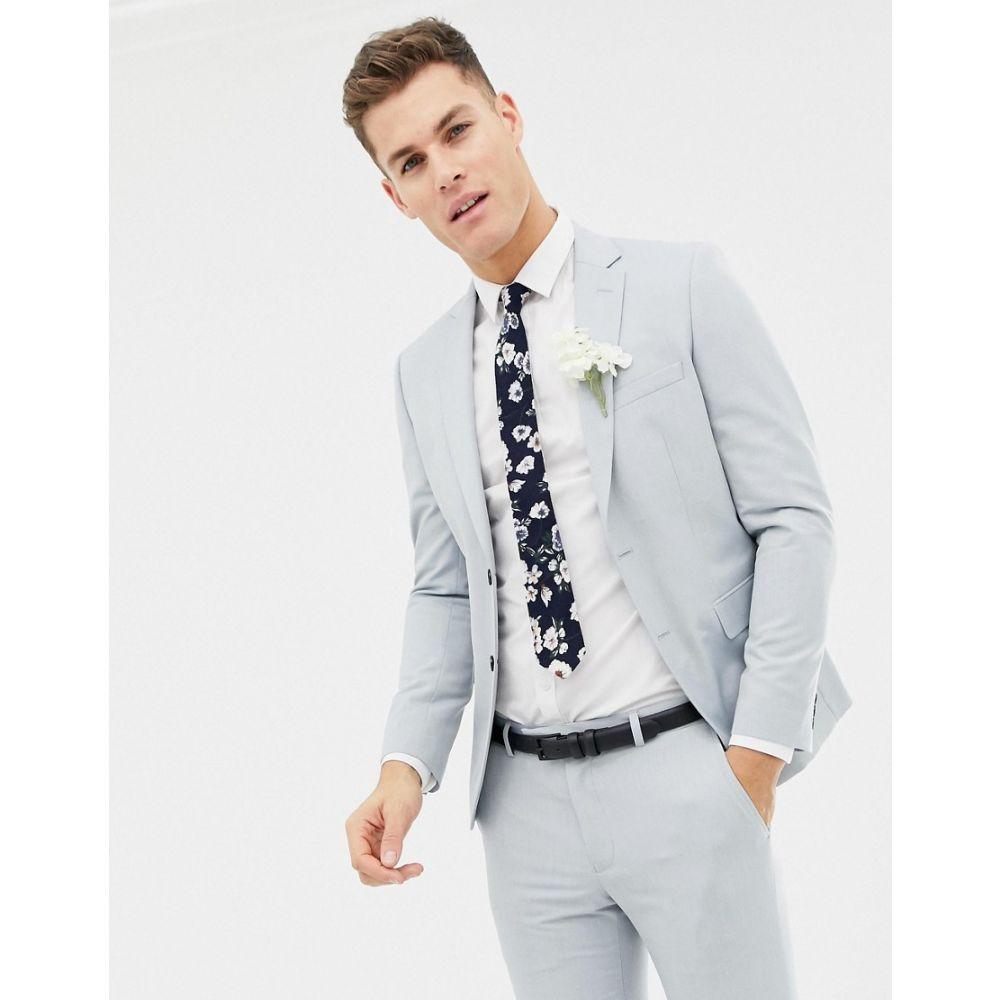 モス ブラザーズ MOSS BROS メンズ スーツ・ジャケット アウター【Moss London skinny wedding suit jacket in ice blue】Ice blue