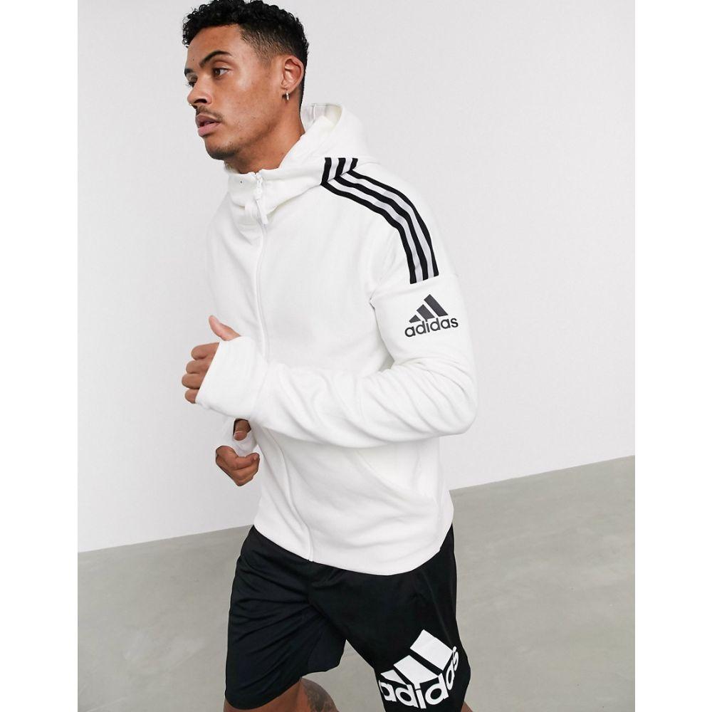 アディダス adidas performance メンズ パーカー トップス【adidas ZNE 3 stripe zip thru hoodie in white】White