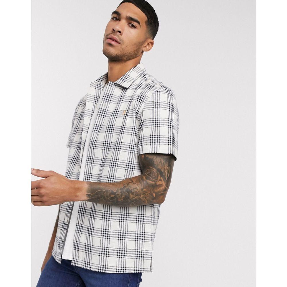 ファーラー Farah メンズ 半袖シャツ トップス【Crockett short sleeve check shirt in white】White