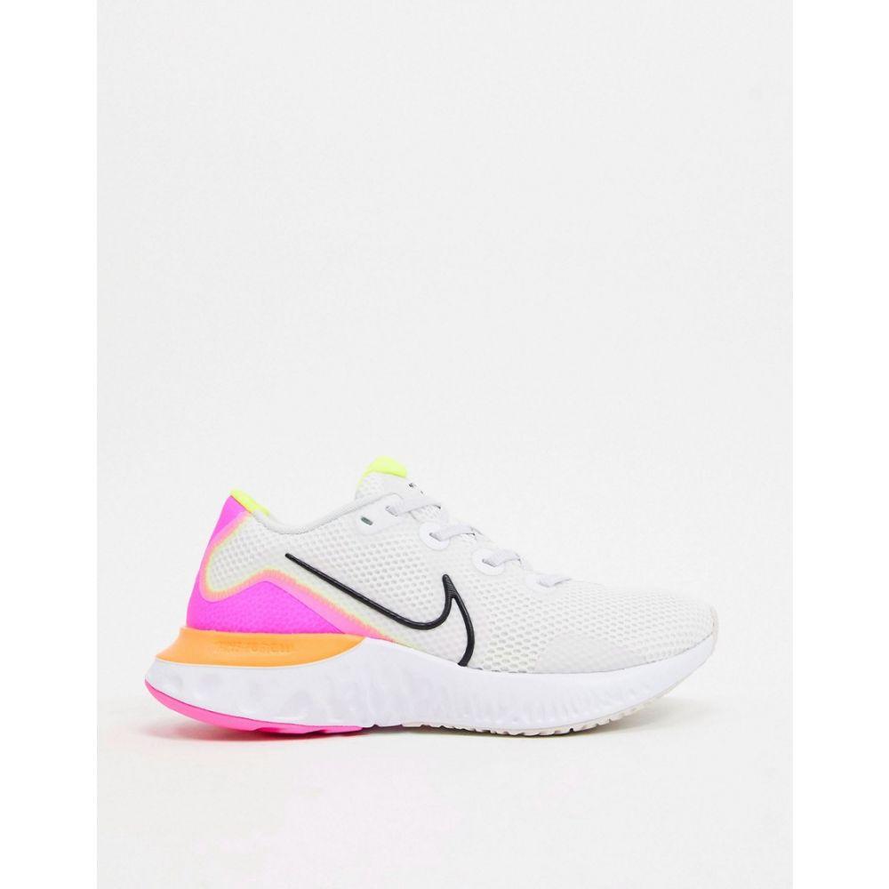 ナイキ Nike Running レディース ランニング・ウォーキング シューズ・靴【Nike Renew Run trainers in white and orange】White