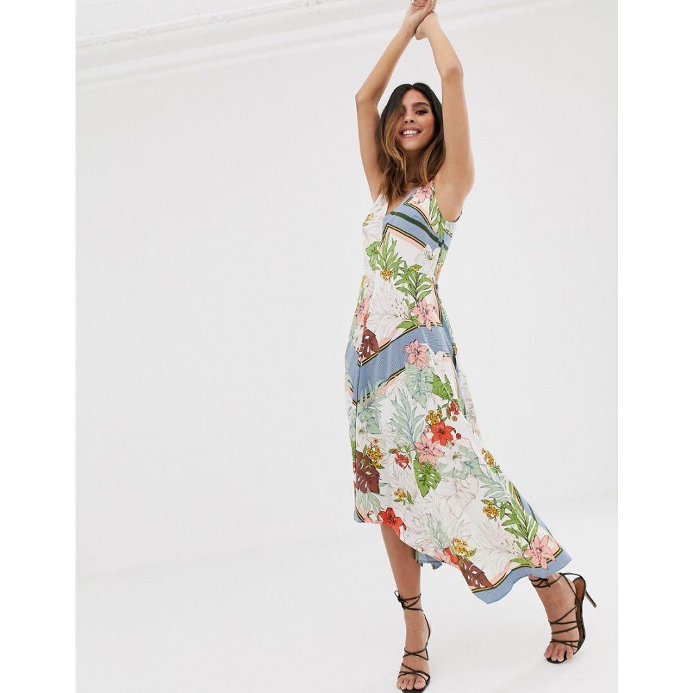 アックスパリス AX Paris レディース ワンピース ワンピース・ドレス【colourblock floral dress】Cream