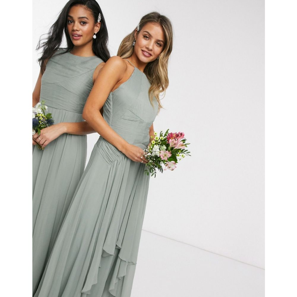 エイソス ASOS DESIGN レディース ワンピース マキシ丈 ワンピース・ドレス【Bridesmaid pinny maxi dress with ruched bodice and layered skirt detail】Olive