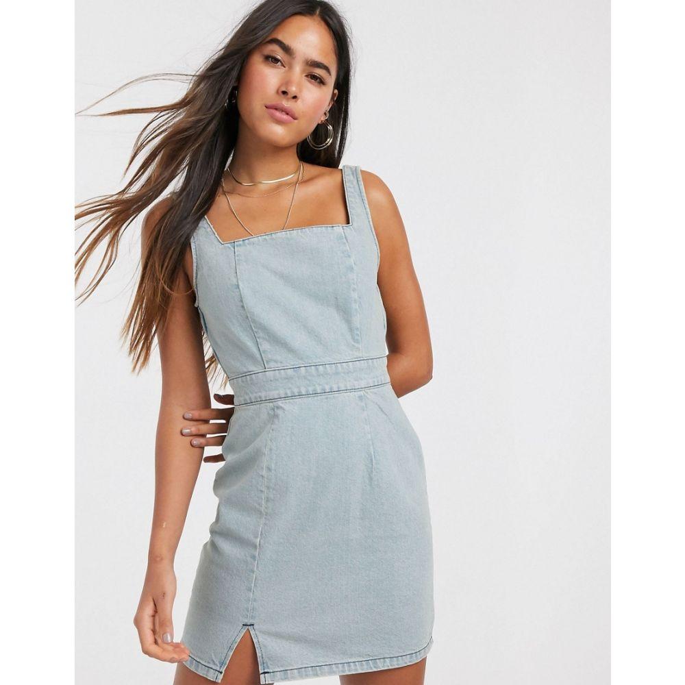 エイソス ASOS DESIGN レディース ワンピース デニム ミニ丈 ワンピース・ドレス denim mini dress in light wash blue BlueSzGqUMVp