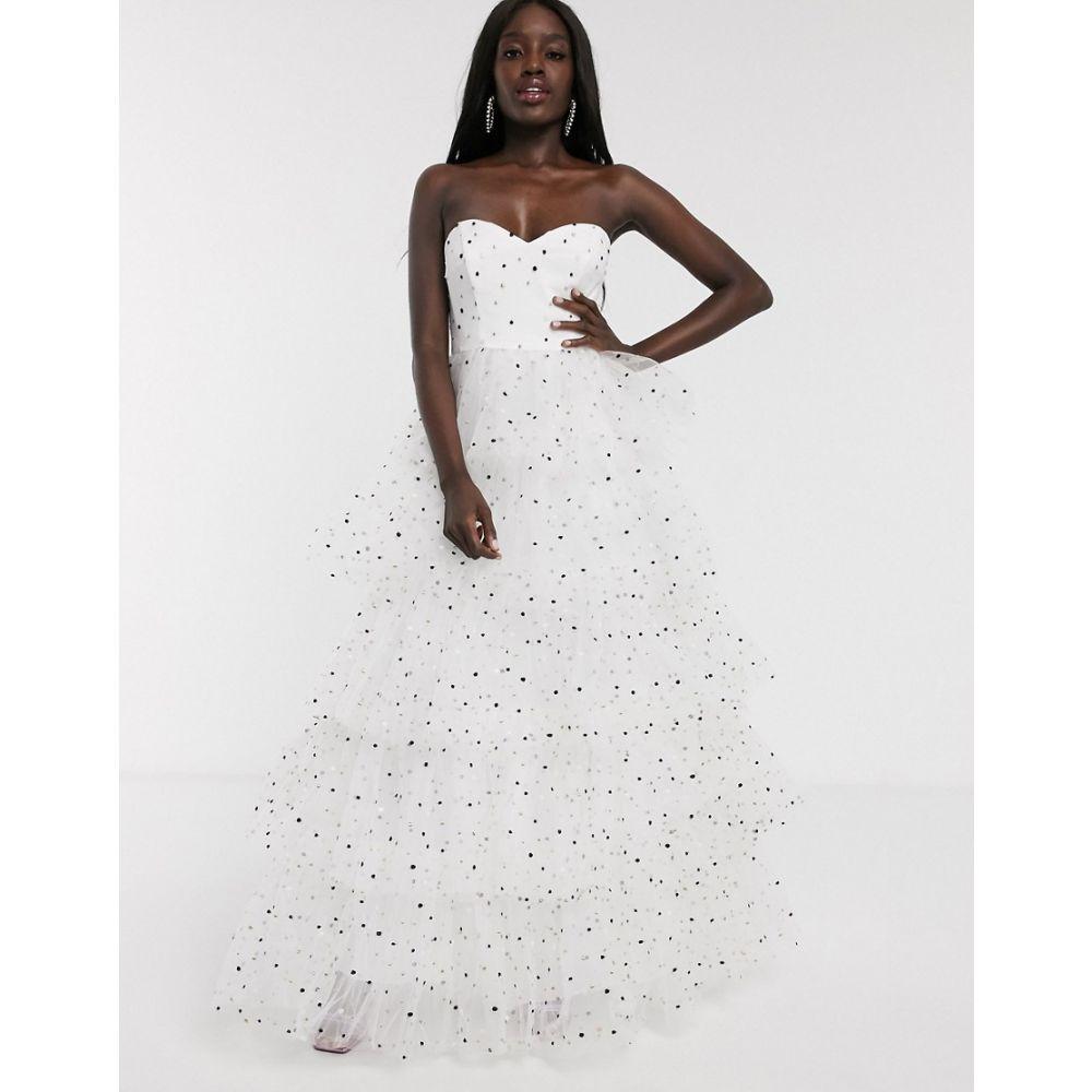 ドリー&デリシャス Dolly & Delicious レディース ワンピース ティアードドレス ワンピース・ドレス【bardot tiered full prom maxi dress in polka dot】White polka