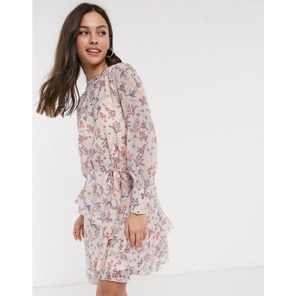 ジェイディーワイ JDY レディース ワンピース ワンピース・ドレス【mini dress with frill detail in floral print】Multi