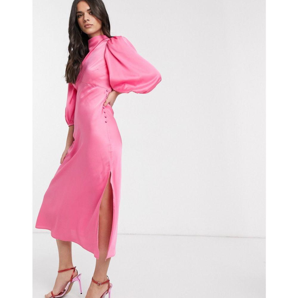 エイソス ASOS DESIGN レディース ワンピース ミドル丈 ワンピース・ドレス【cowl neck satin tea midi dress with puff sleeve in pink】Sugar pink