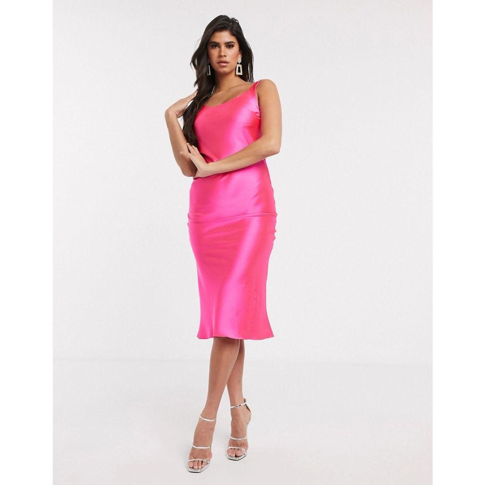 エイソス ASOS DESIGN レディース ワンピース スリップドレス ミドル丈 ワンピース・ドレス【scoop neck midi satin slip dress in hot pink】Hot pink