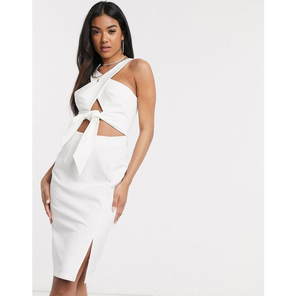 フォース&レックレス 4th + Reckless レディース ワンピース ミドル丈 ワンピース・ドレス【tie front midi dress in white】White