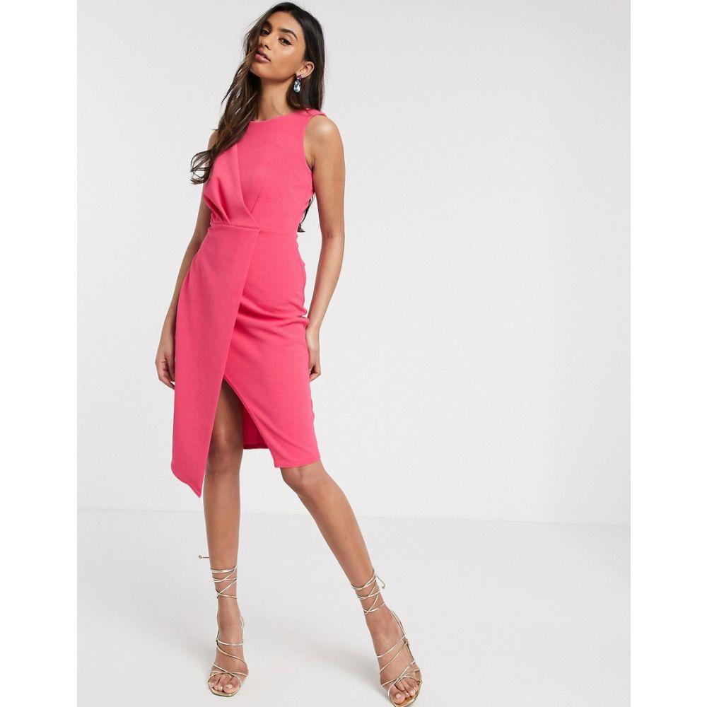 クローゼットロンドン Closet London レディース ワンピース ペンシル ワンピース・ドレス【pleated front pencil dress in fuchsia】Pink