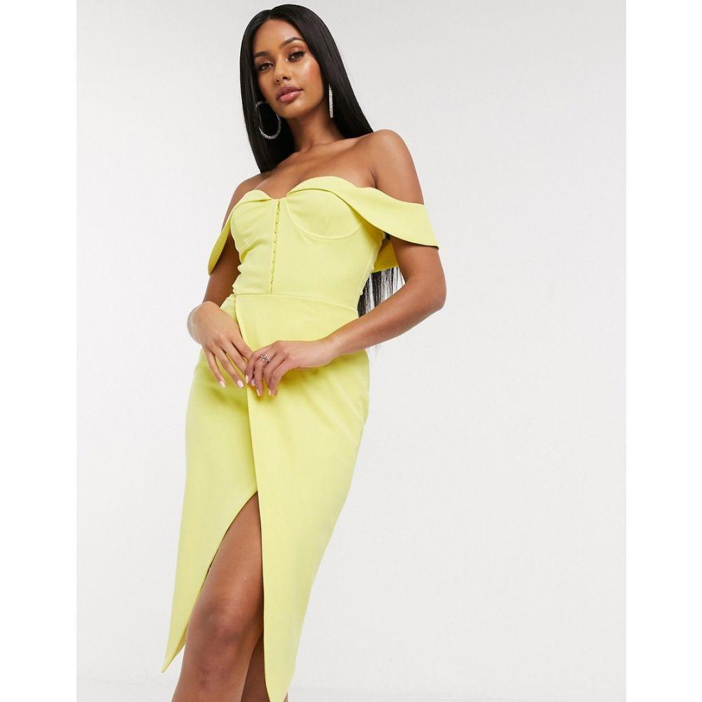 ラヴィッシュアリス Lavish Alice レディース ワンピース ミドル丈 ワンピース・ドレス【off the shoulder midi dress in yellow】Lemon yellow
