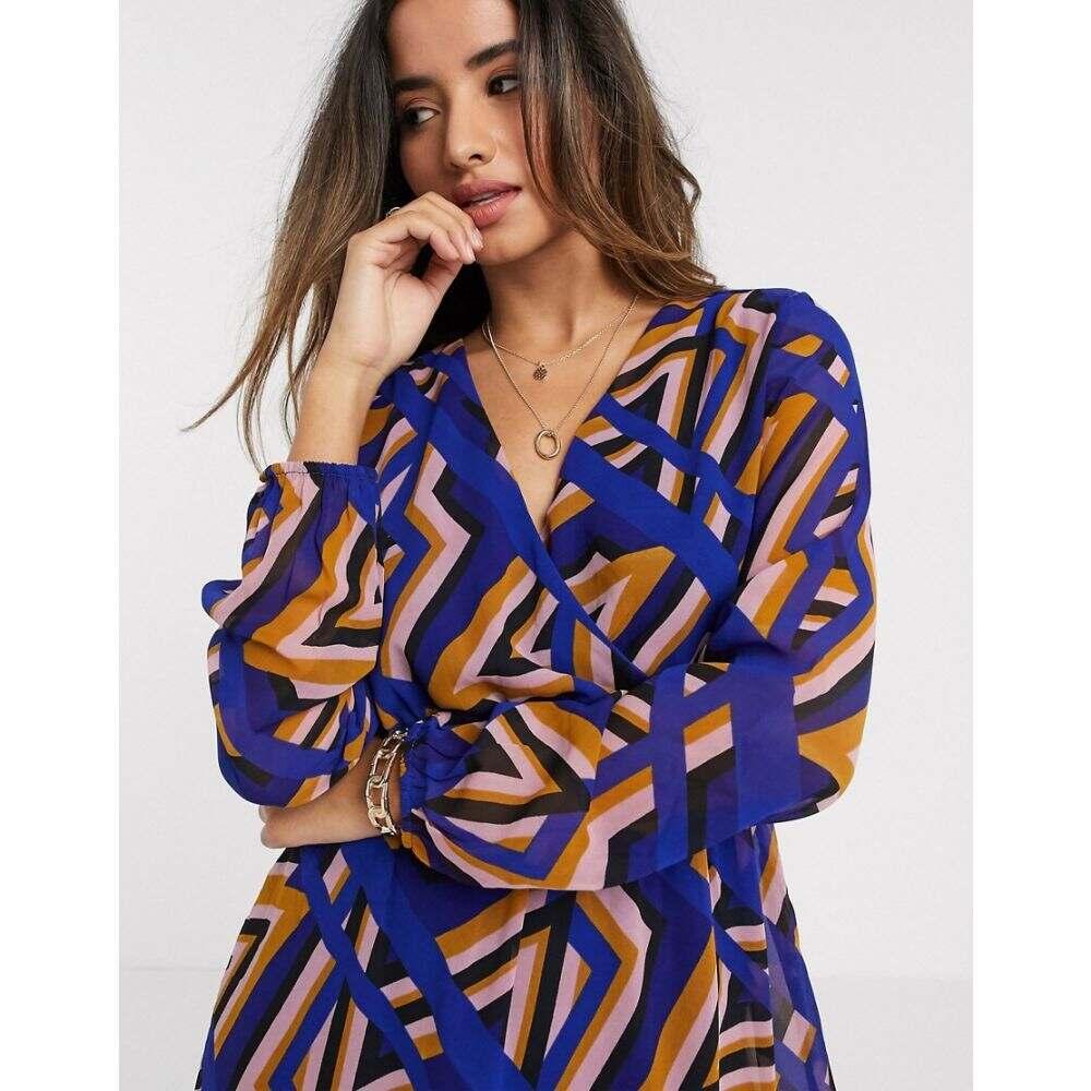 ヴェロモーダ Vero Moda レディース ワンピース ラップドレス ワンピース・ドレス【geo print wrap dress】Mazarine blue