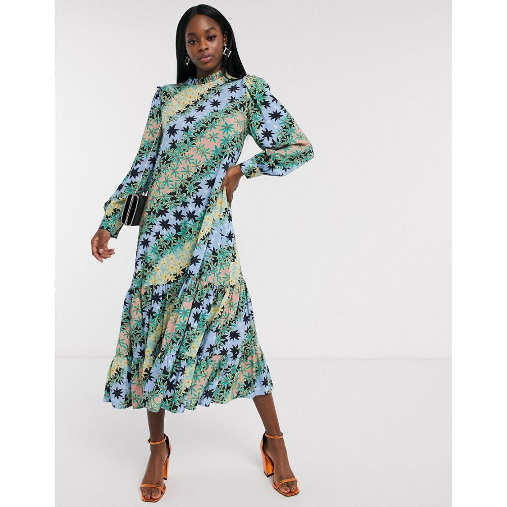 ネバーフリードレス Never Fully Dressed レディース ワンピース ワンピース・ドレス【trapeze midaxi dress with pleated skirt in green contrast scarf print】Multi