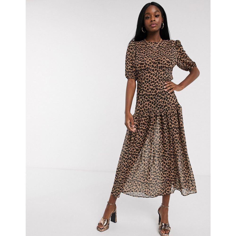 ネバーフリードレス Never Fully Dressed レディース ワンピース ワンピース・ドレス【short sleeve sheer drop hem maxi dress in leopard】Multi