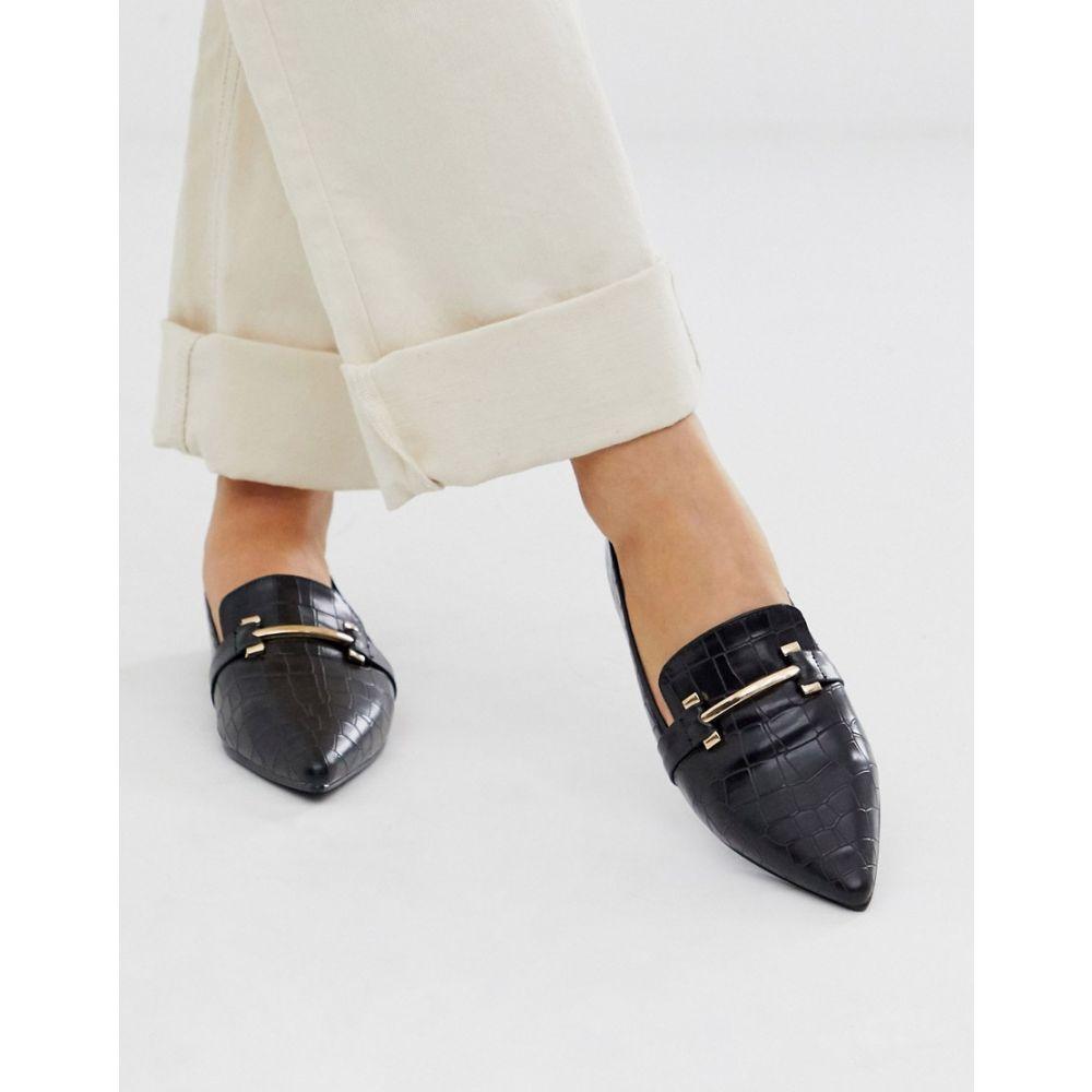 パークレーン Park Lane レディース ローファー・オックスフォード シューズ・靴【pointed flat loafers in croc】Black croc