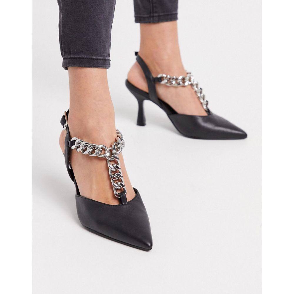 エイソス ASOS DESIGN レディース ヒール シューズ・靴【Surprise mid heels with chain in black】Black