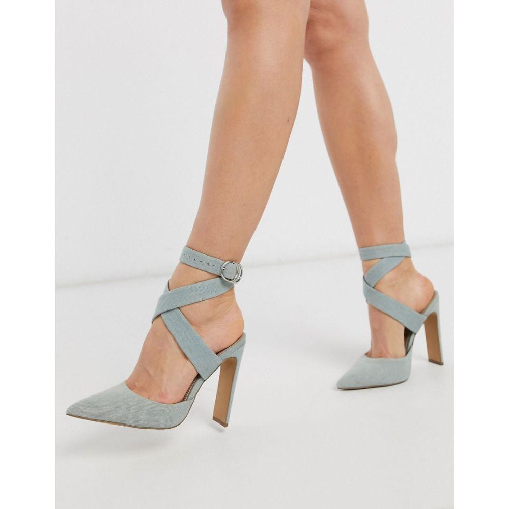 エイソス ASOS DESIGN レディース ヒール シューズ・靴【Pier set back heeled sandals in denim】Denim