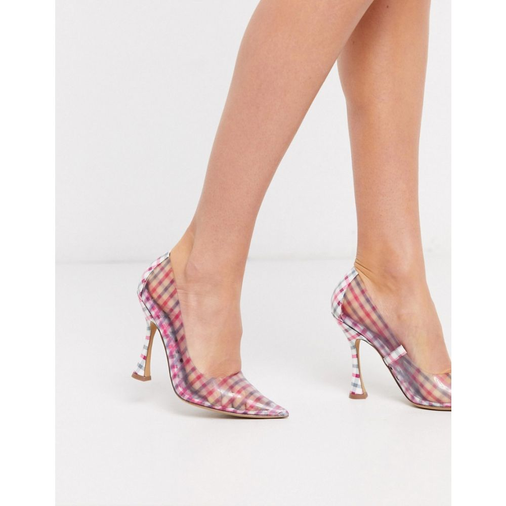 エイソス ASOS DESIGN レディース パンプス シューズ・靴【Pippa pointed court shoes in pink and clear gingham】Pink/clear