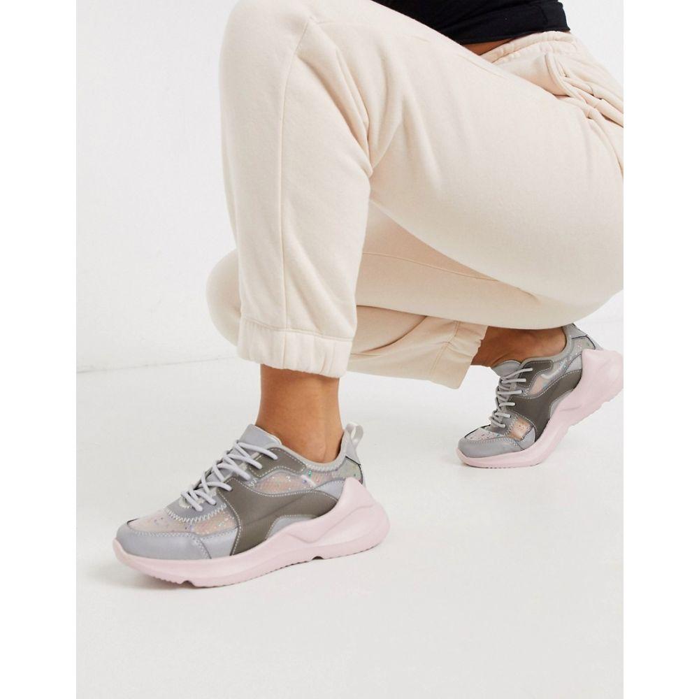 エイソス ASOS DESIGN レディース スニーカー シューズ・靴【Delhi trainers in grey and pink】Grey/pink