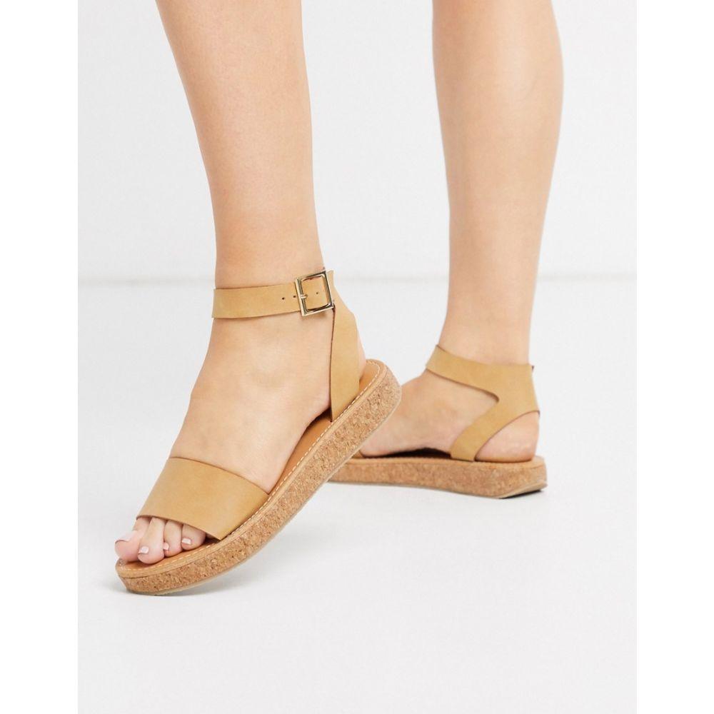 エイソス ASOS DESIGN レディース サンダル・ミュール チャンキーヒール シューズ・靴【Forlong chunky flatform sandals in natural】Natural