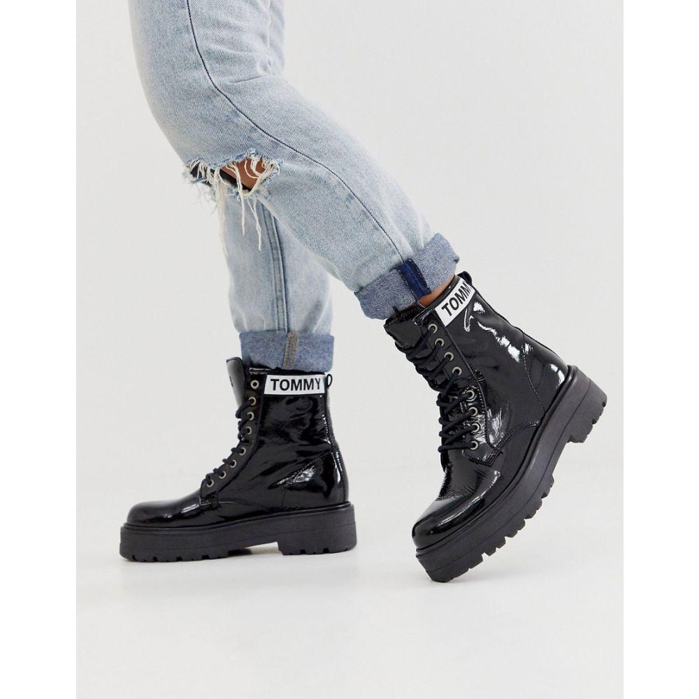 トミー ジーンズ Tommy Jeans レディース ブーツ レースアップブーツ シューズ・靴【patent leather lace up boot】Black