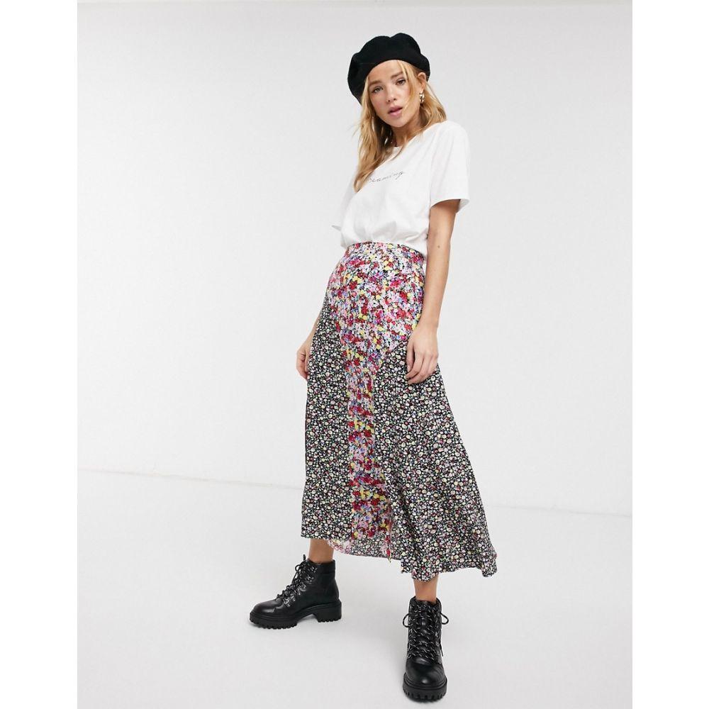エイソス ASOS DESIGN レディース ひざ丈スカート スカート【mixed print panelled midi skirt with splits in pink floral】Pink floral
