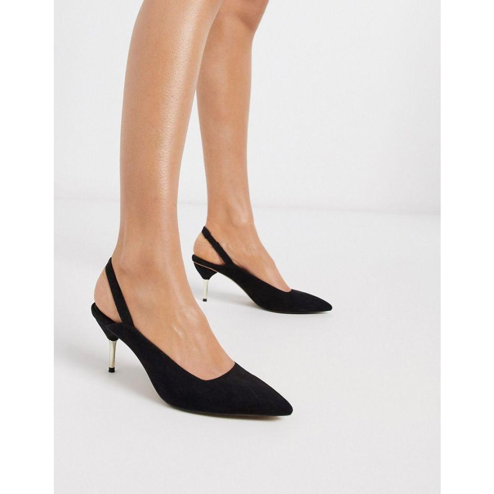 エイソス ASOS DESIGN レディース ヒール キトゥンヒール シューズ・靴【Sascha slingback kitten heels in black】Black