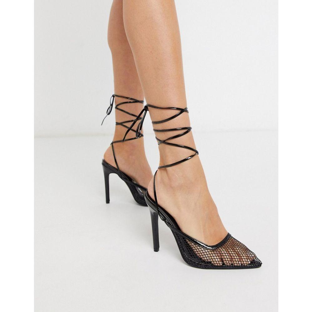 パブリックディザイア Public Desire レディース ヒール シューズ・靴【Fiesty mesh ankle tie heeled shoe in black】Black