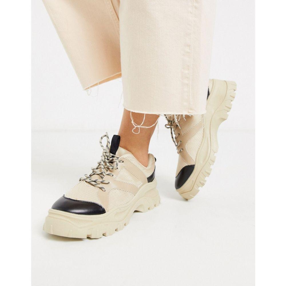モンキー Monki レディース スニーカー チャンキーヒール シューズ・靴【chunky sole mesh trainers in beige】Beige with black