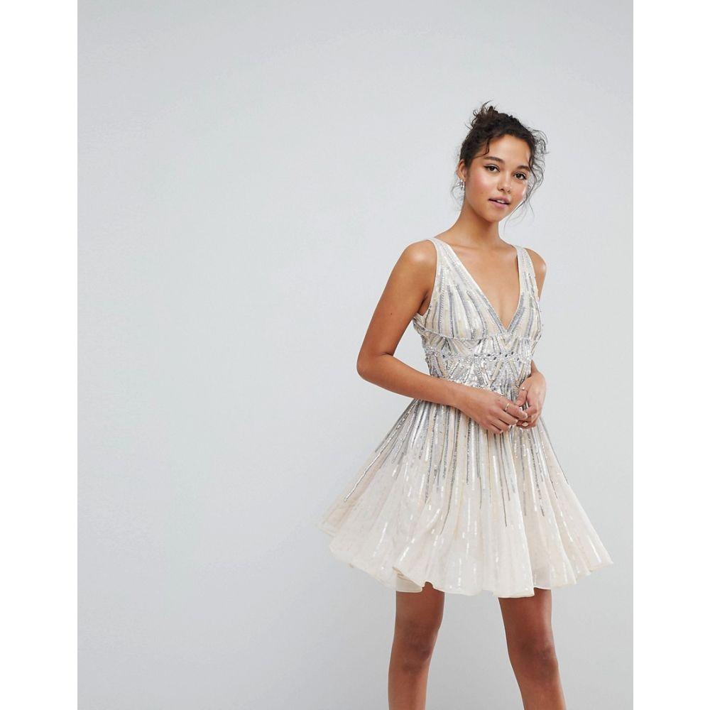 エイソス ASOS DESIGN レディース ワンピース ミニ丈 ワンピース・ドレス【ASOS Sparkle Embellished Skater Mini Dress】Cream
