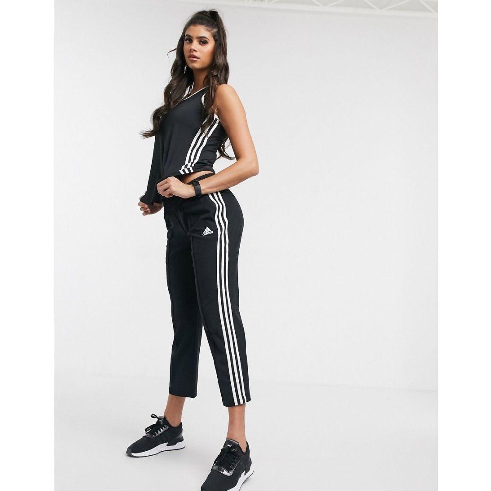 アディダス adidas performance レディース スウェット・ジャージ ボトムス・パンツ【adidas Training cropped 3 stripe trousers in black】Black